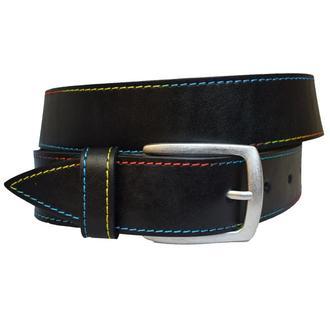 Rainbow ремень женский черный кожаный под джинсы cо строчкой пояс кожанный. ремінь шкіряний