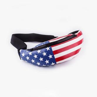 Бананка, сумка на пояс с американским флагом, поясная сумка
