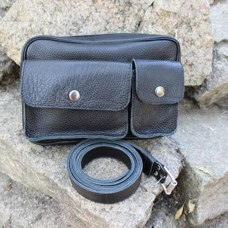 Кожаная мужская сумка-барсетка на пояс | Черный Флотар