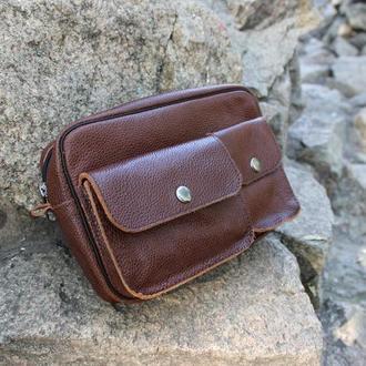 Кожаная мужская сумка-барсетка на пояс | Коричневый Флотар