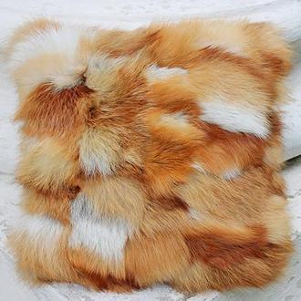 Меховая подушка рыжая