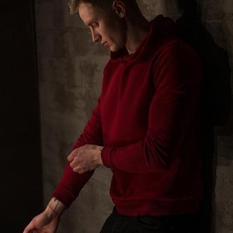 Бордовий худі Grom clothing