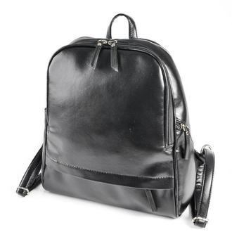 Женский рюкзак Черный гладкий кожзам
