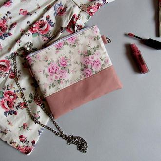 Клатч цветочный текстиль экокожа