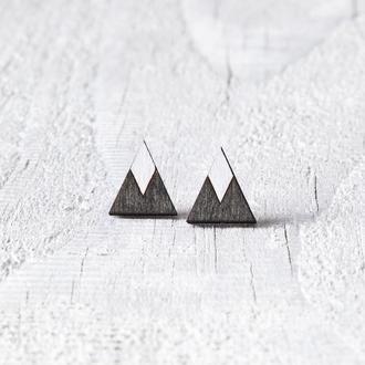 Серьги черные горы, сережки гвоздики, подарок для девушки