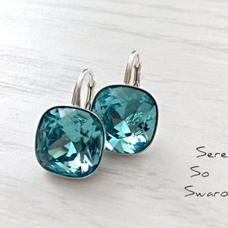 Серебряные серьги с кристаллами Сваровски LT