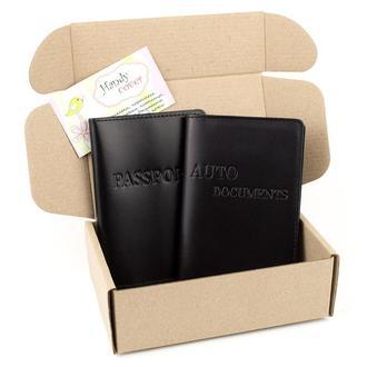 Подарочный набор №22 (чёрный): обложка на паспорт + обложка на права
