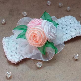 Повязка с розами,  повязка детская