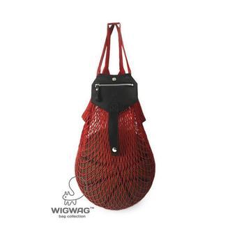 Красная сумка-авоська с кошельком из натуральной кожи
