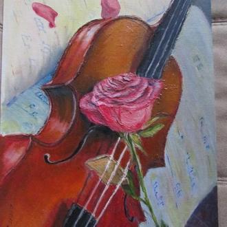 """""""Роза и скрипка"""". Картина."""