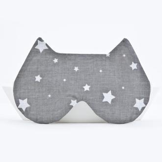 Маска для сна купить Украина, Маска для сна кошка серая, маска для сна со звездами