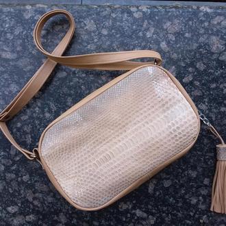 Натуральная кожа и экзотическая кожа питона. Комплект сумка кроссбоди и кошелек