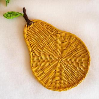 Плетеная подставка под чашку тарелку сервировочная - груша