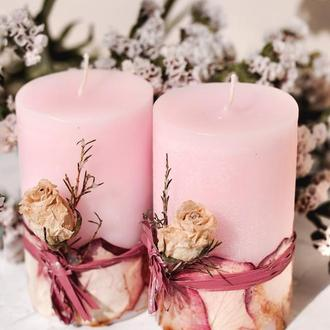 Свічка з суцвіттям троянди і тюльпану