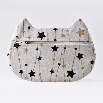 Косметичка кошка золотые звезды, Подарок женщине