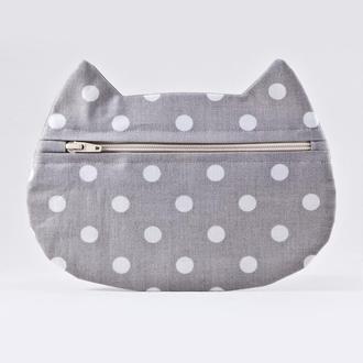 Косметичка кошка в горошек, Серая косметичка, Подарок женщине