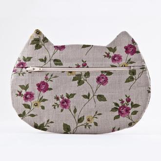 Косметичка кошка, Подарок девушке, Серая косметичка цветочный принт