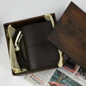 Именной кожаный набор для мужчины Кожаный мужской ремень Кожаный дорожный блокнот