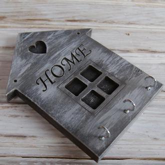 """Декоративная настенная деревянная ключница """"Домик"""""""