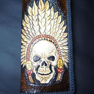 Мужской кошелек, мужское портмоне с тиснением, кожаный кошелек с индейцем