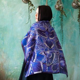 Шелковый платок, Фиолетовый платок, Женский шарф, Шейный платок, Атласный платок, Шокова хустка
