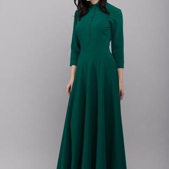 01213 платье в пол с карманами изумрудное