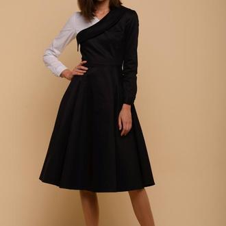 10222 платье-сарафан черное с белым рукавом и с карманами