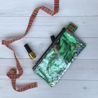 Косметика-пенал с прозрачной стороной, пайетками, зеленая