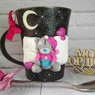 Набор Кружка Чашка с декором Мишка Тедди и Ложка с Кексом из полимерной глины