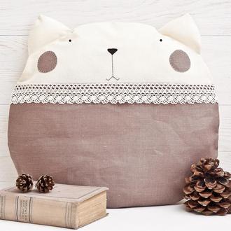 Подушка кот, Декор в детскую, Льняная подушка с кружевом