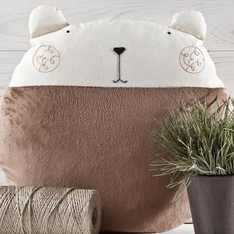 Подушка медведь, Декор в детскую, Круглая подушка