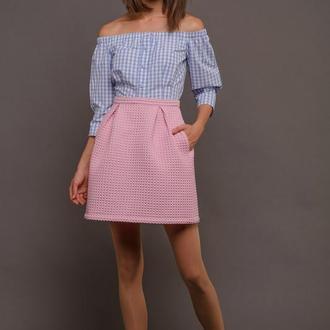 00091 объемная юбка со складками и карманами розовая