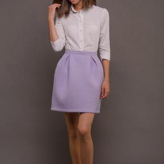 00092 объемная юбка со складками и карманами сиреневая