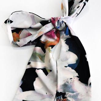 """Твилли """"Синие розы"""", двусторонний  шарфик-галстук, шарф-лента"""