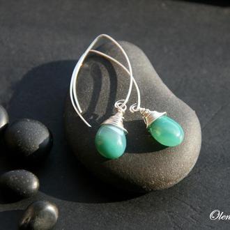 """Серебряные серьги """"Green Agate Drops"""", серебряные серьги с зеленым камнем, длинные  серьги"""
