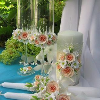 """Свадебный набор """"Нежность"""" в персиковых тонах."""