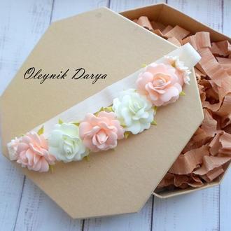 Повязочка с цветочками из фоамирана для малышки