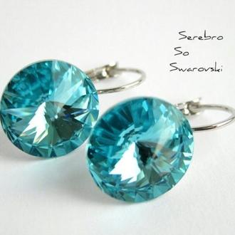 Серьги с кристаллами Сваровски Бирюза