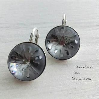 Серебряные серьги с кристаллами Сваровски Морской Еж