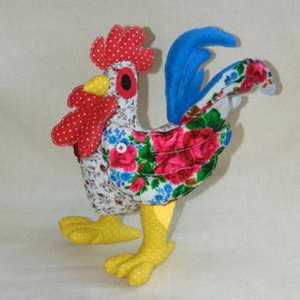 Петух-петушок тильда из платков - интерьерная игрушка тильда ручной работы, 30 см