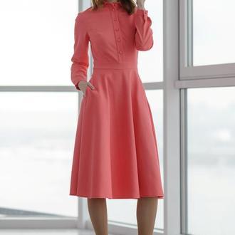 10143 платье с длинным рукавом кораллового цвета