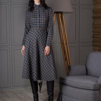 10141 платье с длинным рукавом в клетку
