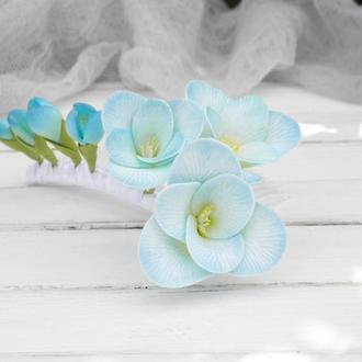 Гребень для волос с цветами голубой фрезии, Цветочный гребешок