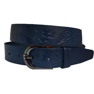Flora синий кожаный женский ремень под джинсы с цветами тиснением кожанный пояс кожа