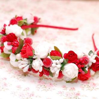 Яркий обруч ободок бело-красный