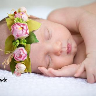 Повязка на голову для новорожденной малышки