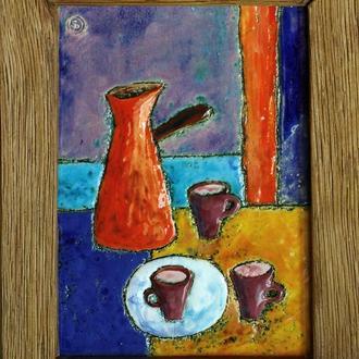 Керамическая картина ′Кофе для маленькой компании′
