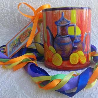 """Чашка с авторской миниатюрой """"Чайная пара"""""""