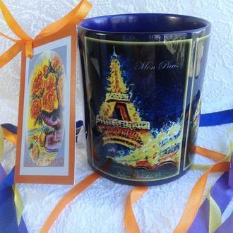 """Чашка-кружка с авторской картиной в миниатюре на керамике """"Мой Париж"""""""