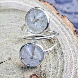Кольцо с гортензией, белая гортензия, кольцо с сухоцветом, нежное колечко, подарок для женщин